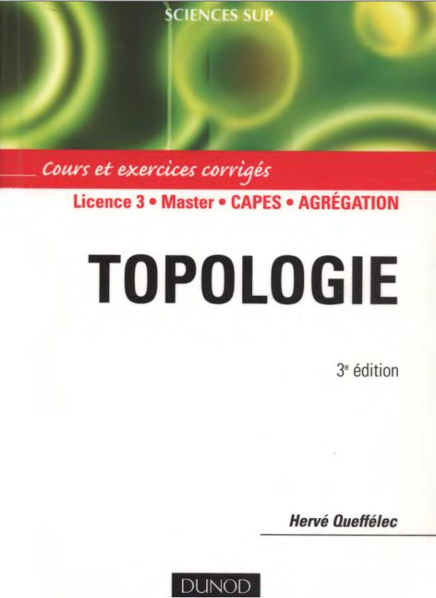 Livre Topologie &#8211; Cours et exercices corrigs